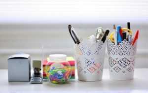 desk, writing utensils, desk accessories