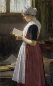 painting, woman, reading