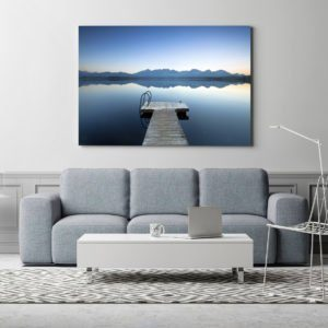 White poster in living room, scandinavian design, 3d illustratio